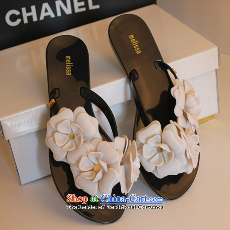 Summer 2015 new three-dimensional camellias slippers flat bottom jelly folder of peace-keeping operations with flipflops small flowers beach is drag incense B031YZ female flowers MS340