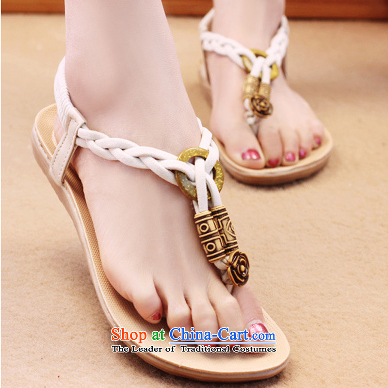 Summer 2015 new sandals female Bohemia beaded peace-keeping girls sandals flat folder with soft bottoms beach shoes B038YZ white聽37
