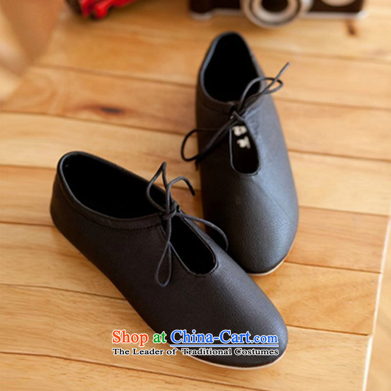 The Korean version of the new 2015 white shoes flat white shoes with small leather shoes fall sports and leisure shoes B002YZ single black 38