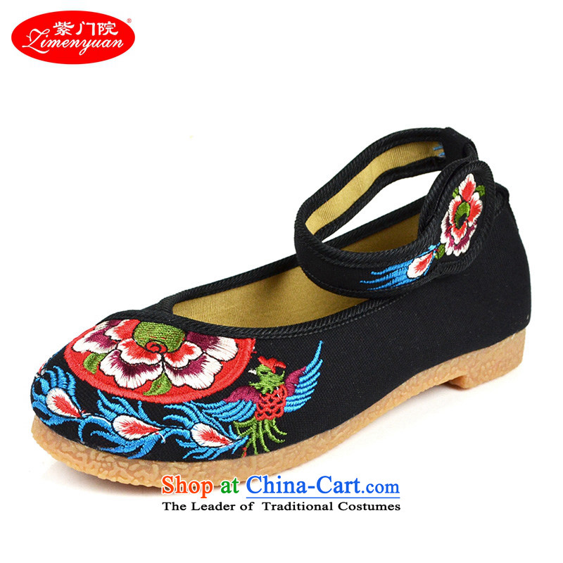 The first door of Old Beijing mesh upper female embroidered shoes stylish flat bottom spring shoes, click ethnic women shoes light port shoes beef tendon side black 38
