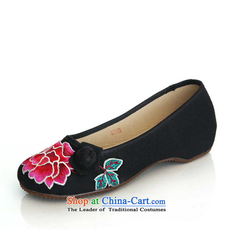 The silk autumn old Beijing mesh upper ethnic embroidered shoes red marriage with increased within the slope shoes, casual women shoes A412-75 single black 37