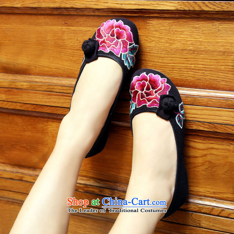 The silk autumn old Beijing mesh upper ethnic embroidered shoes red marriage with increased within the slope shoes, casual women shoesA412-75 singleblack37, Ms Shelley silk , , , shopping on the Internet