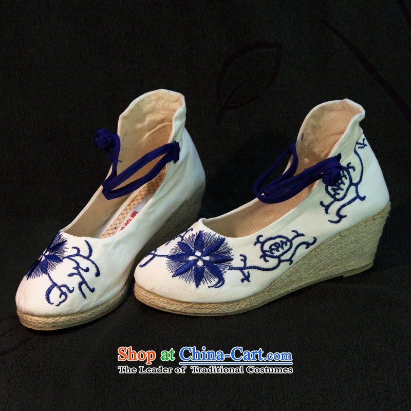 The silk autumn old Beijing mesh upper ethnic embroidered shoes antique porcelain slope with the high-heel shoes light shoe 577 Single Port  38, Ms Shelley white silk , , , shopping on the Internet