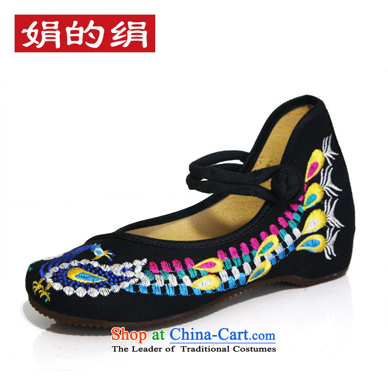 The silk autumn old Beijing mesh upper ethnic embroidered shoes marriage with a lady's shoe shoes slope rising within single shoe A412-56 black 37