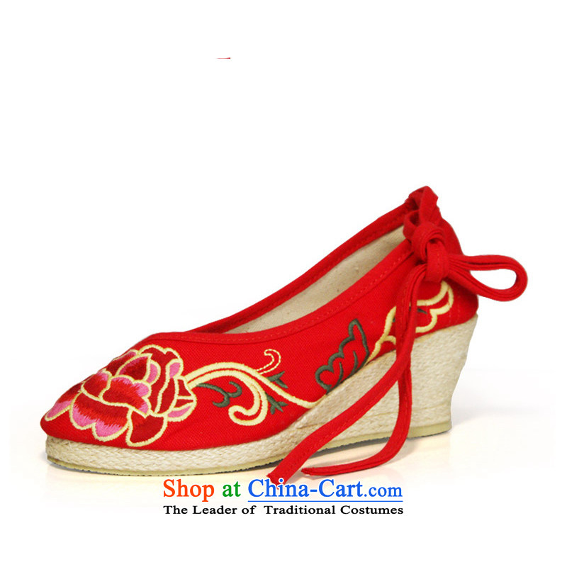 The silk fall of Old Beijing National wind and contemptuous of Mudan mesh upper embroidered shoes red shoes bride shoes, casual marriage with a lady's shoe single slope shoes 303-6 Red38