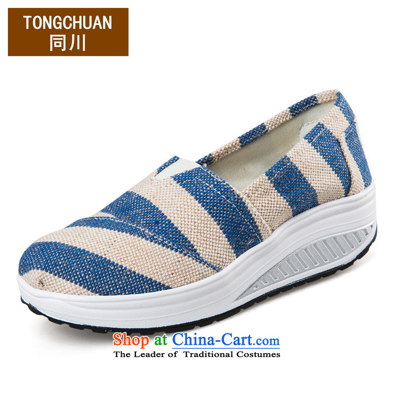 2015 new low leisure shoes yoyos women breathable canvas shoes increased female Korean woman shoes linen paralysis of the blue sports shoes Y006 38 standard code
