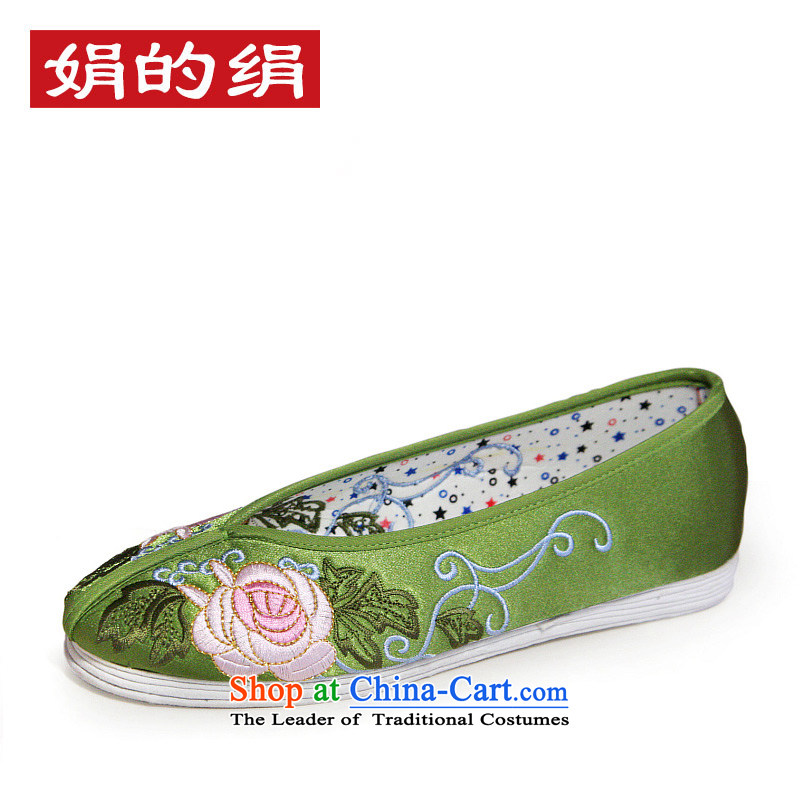 The silk autumn old Beijing mesh upper ethnic embroidered shoes bride shoes shoes bottom thousands of marriage female flat bottom single shoe 901 green + thousands of Bottom 34