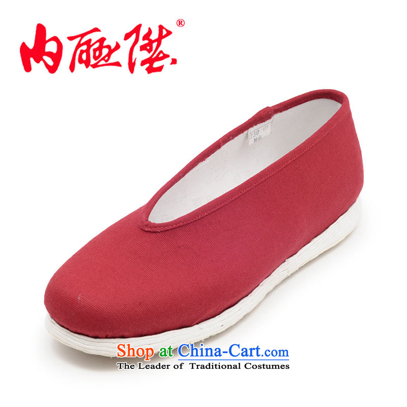 The rise of the women's single shoe-gon thousands ground plain manual color small font size for seniors mesh upper mesh upper 8604A Beijing Red39