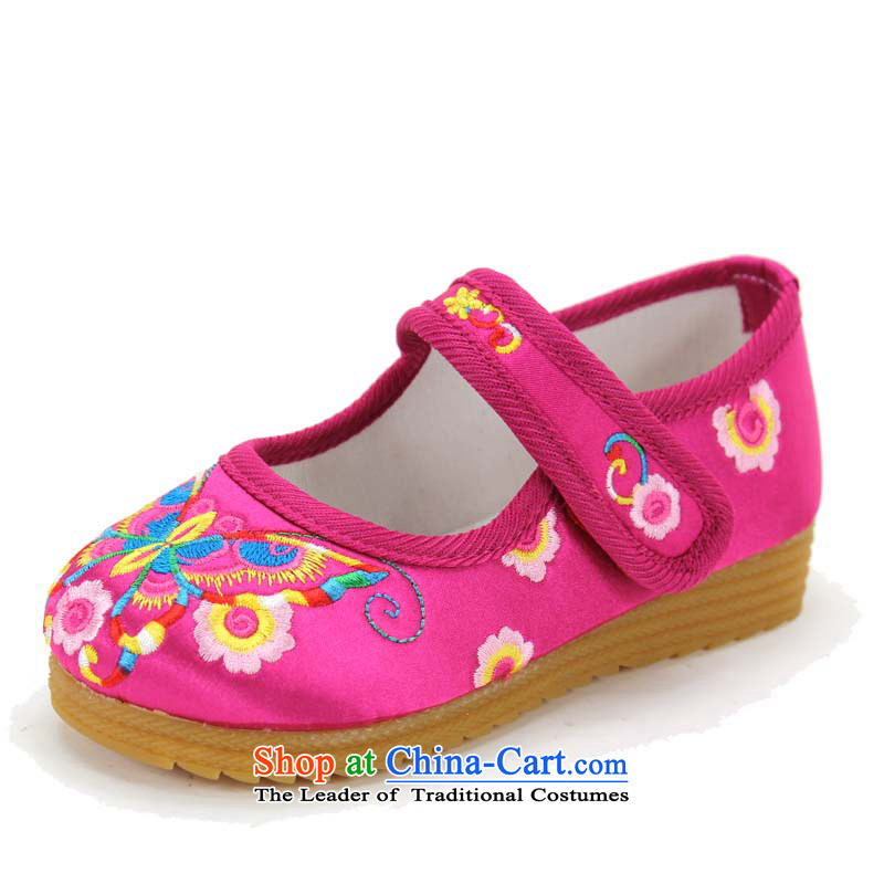 Genuine Old Beijing mesh upper girls single shoes children shoes lovely girls embroidered shoes baby shoes Dance Shoe 4802 4802 Peach Codes/within 23 20cm long
