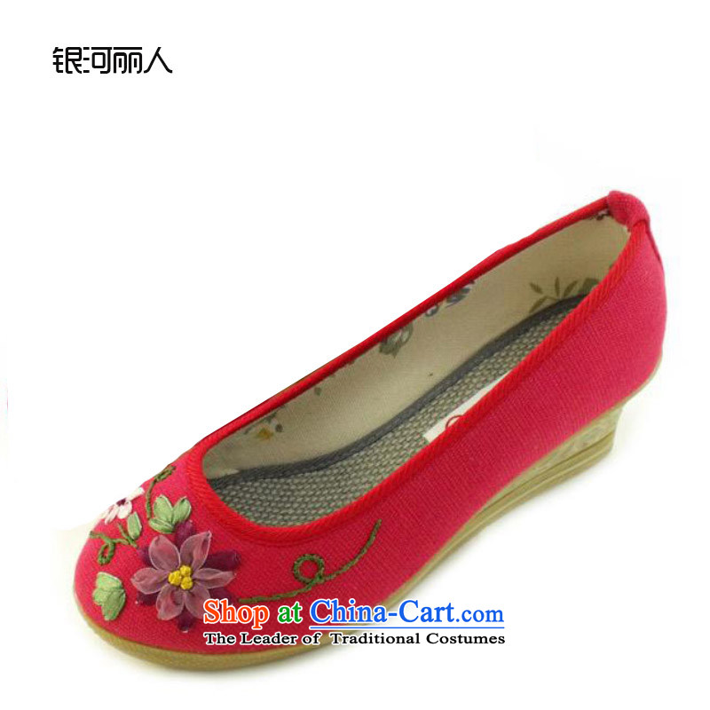 Mesh upper with genuine old Beijing women shoes manually embroidered shoes and stylish with women shoes at 1033 1033 Red (small a number) is too small a number 40)