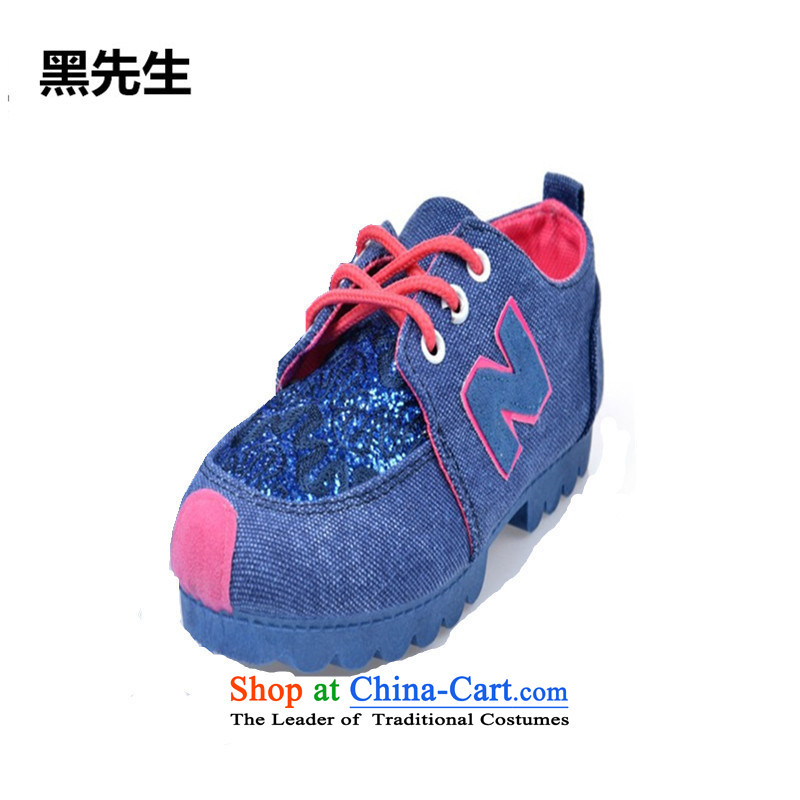 Mr. black stylish original can spell color female 2015 Stamp shoes lace with sneakers leisure sports shoes round head strap women shoes Blue聽36