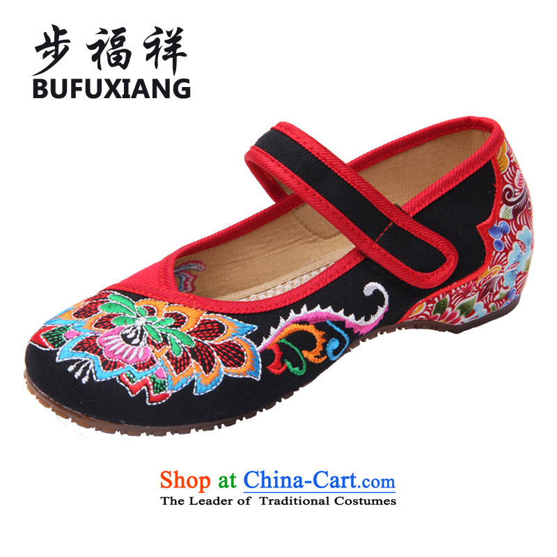 Step Fuk Cheung 2015 spring of Old Beijing mesh upper ethnic embroidered shoes shopping promenade wild women shoes A01-7 black 36