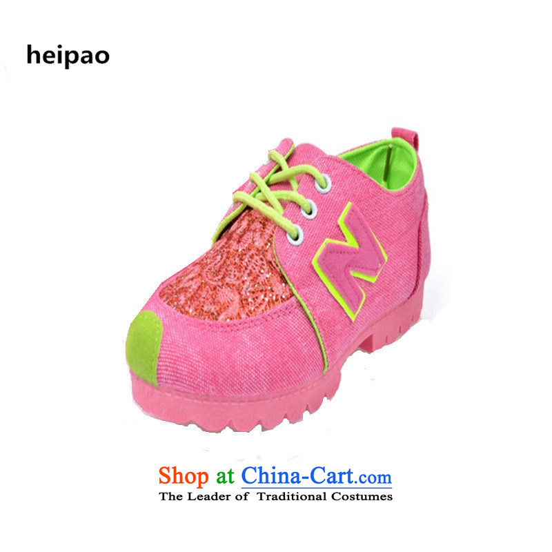 In spring and summer heipao2015 new color cloth spell couture board waterproof desktop leisure climbing female sports shoes with the trend of increase in women pink37