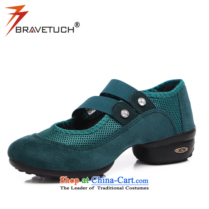 Margaret card women shoes spring and summer in New breathable dancing shoes engraving lightweight mesh leisure shoes mother shoe female single Elasticated Sleeve square foot shoes 679 emerald 36 Dance