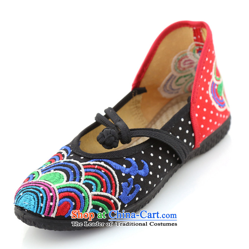 The Scarlet Letter of Ramadan Old Beijing mesh upper Ms. new embroidered shoes women shoes single shoe ethnic mesh upper KVA well Ramadan flat shoe offer package mail black 39