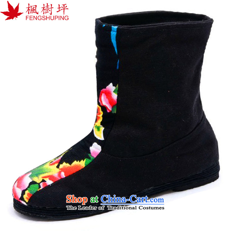 Maple-pyeong of Old Beijing mesh upper layer thousands ground embroidery boots moms ladies boot to increase within 39 A616 Black Gasket