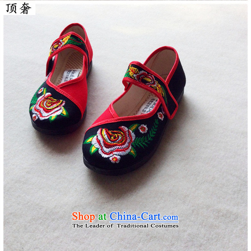 Top Luxury     2015 new genuine old Beijing mesh upper ethnic embroidered shoes women shoes single shoe and contemptuous of Peony Plaza Dance Shoe breathable single shoe black 40