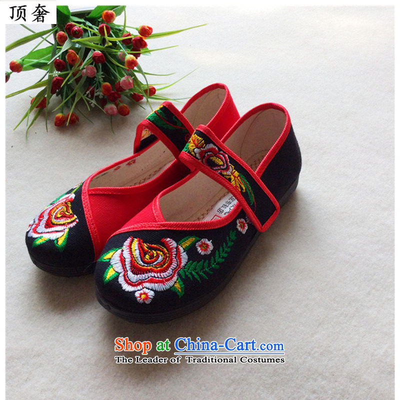 Top Luxury     2015 new genuine old Beijing mesh upper ethnic embroidered shoes women shoes single shoe and contemptuous of Peony Plaza Dance Shoe breathable top 40 single shoe black luxury shopping on the Internet has been pressed.