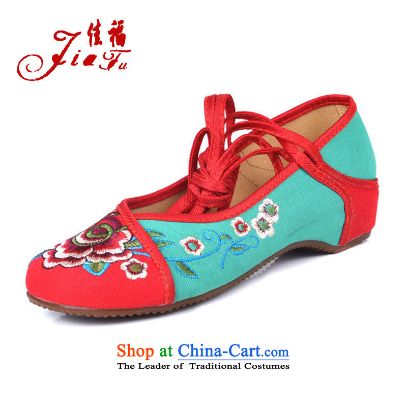 Better well (2015 Spring/Summer JIAFU) new products of Old Beijing mesh upper cross strap women shoes embroidered shoes single shoe beef tendon at its dance 525A62 Plaza with red and green 35