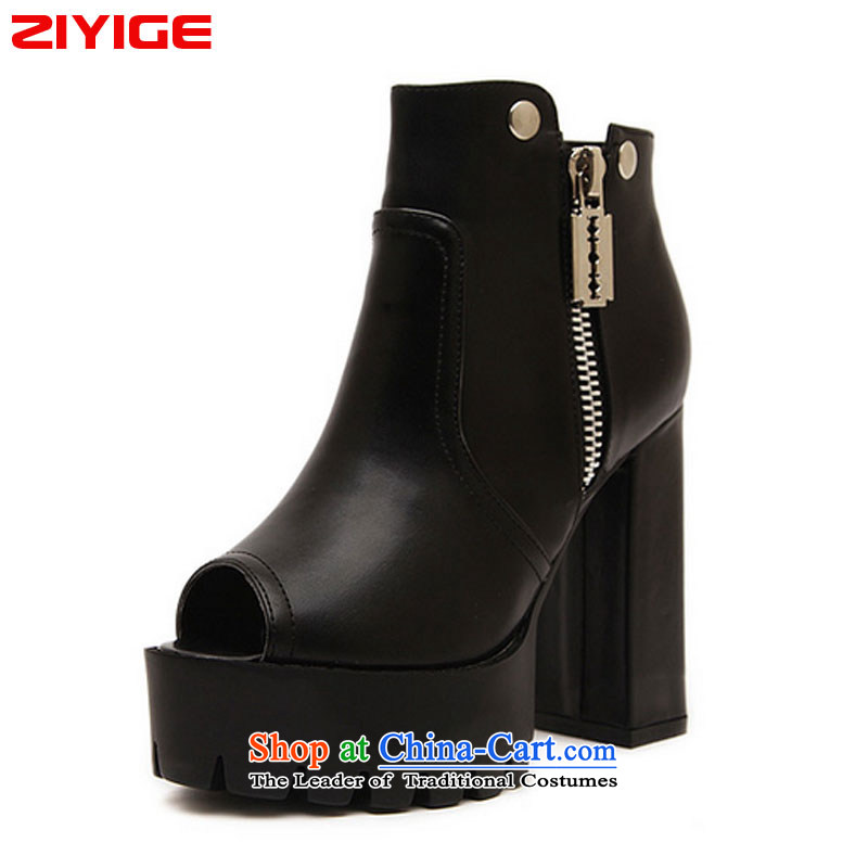 The spring and summer of 2015 New ZIYIGE stylish thick black sexy lips fish in the the high-heel shoes soft deep zipper women shoes 168-2 Black聽37