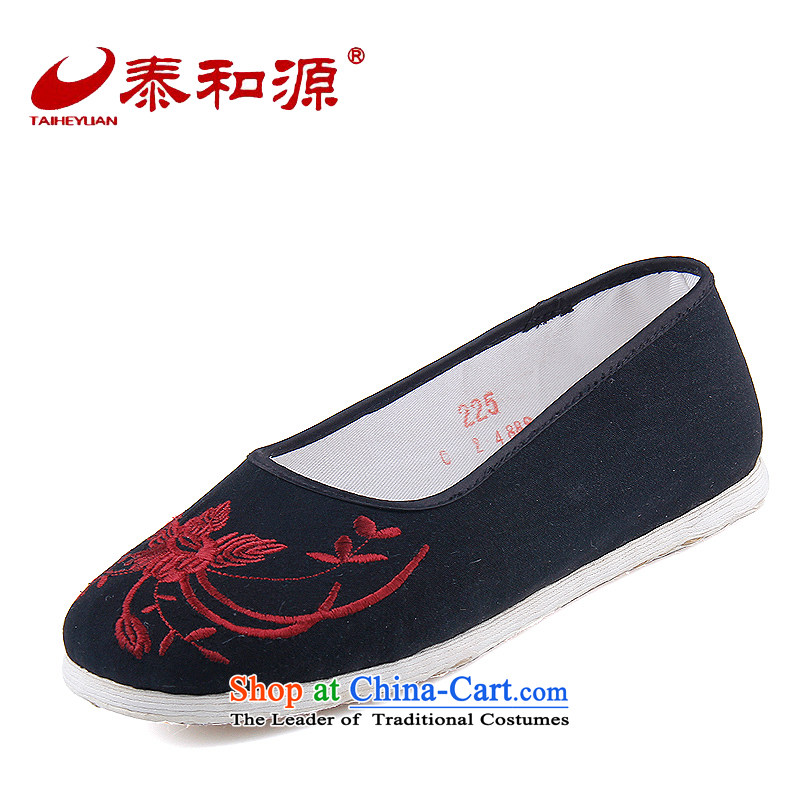 The Thai and source of Old Beijing mesh upper with classic national orchids embroidery female cloth shoes breathability and comfort women shoes manually embroidered ground cloth sewing backplane leisure shoes black 40
