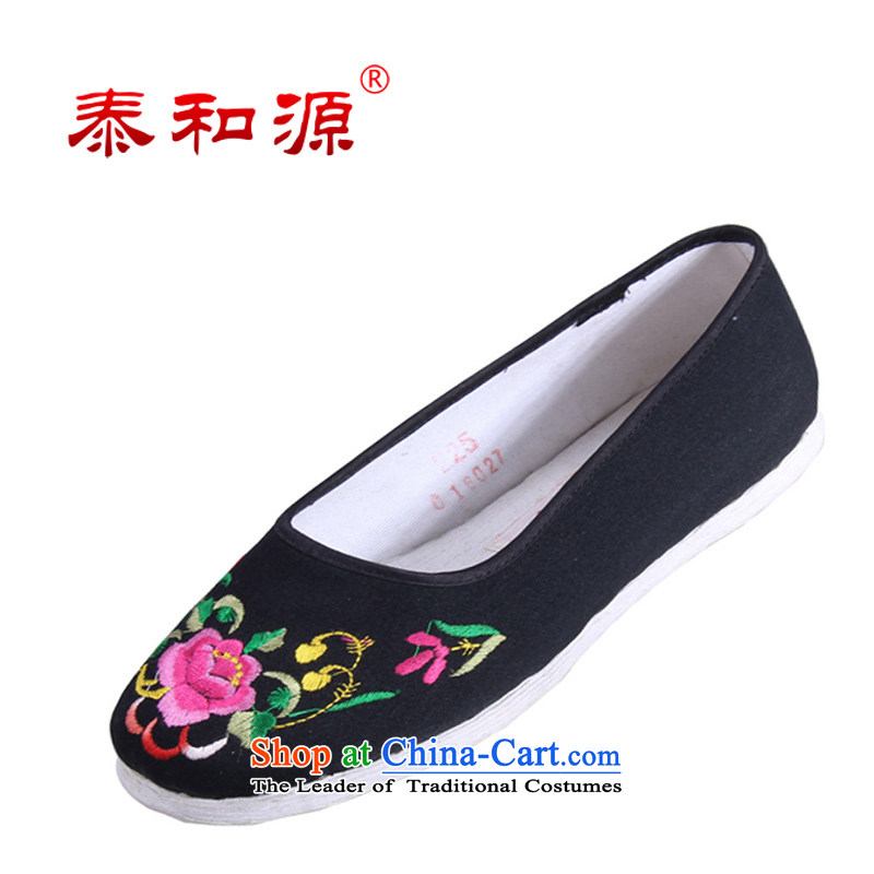 The Thai and source of Old Beijing classic ethnic embroidery mesh upper female cloth shoes breathability and comfort women shoes manually embroidered ground cloth sewing backplane leisure shoes black38