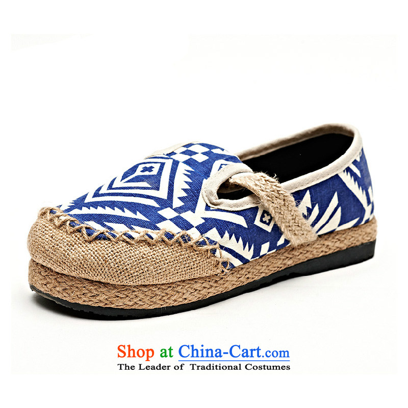 Flax Old Beijing women shoes single shoe mesh upper spring new stylish ethnic embroidered shoes with leisure cool drag PING XIAD1002 Blue38
