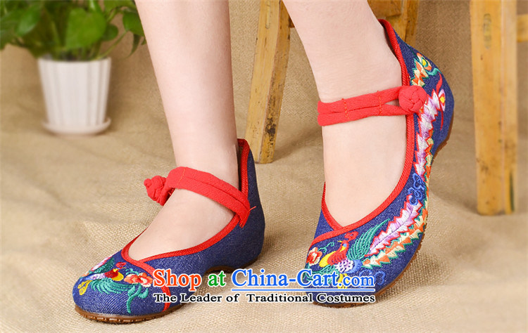 Lun Cheung Sui (LINXIANGRUI) old Beijing mesh upper female embroidered shoes of Ethnic Dance Shoe Light port square then shoes heel shoe-deduction slope women shoes A412-142 blue 40 pictures, prices, brand platters! The elections are supplied in the national character of distribution, so action, buy now enjoy more preferential! As soon as possible.