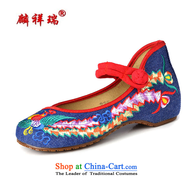 Lun Cheung Sui (LINXIANGRUI) old Beijing mesh upper female embroidered shoes of Ethnic Dance Shoe Light port square then shoes heel shoe-deduction slope women shoes A412-142 Blue 40