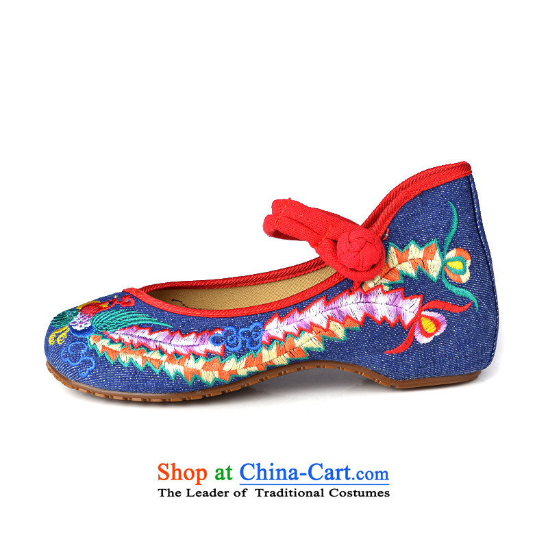 Lun Cheung Sui (LINXIANGRUI) old Beijing mesh upper female embroidered shoes of Ethnic Dance Shoe Light port square then shoes heel shoe-deduction slope women shoes A412-142 blue 40, Lun Cheung Shui (LINXIANGRUI) , , , shopping on the Internet