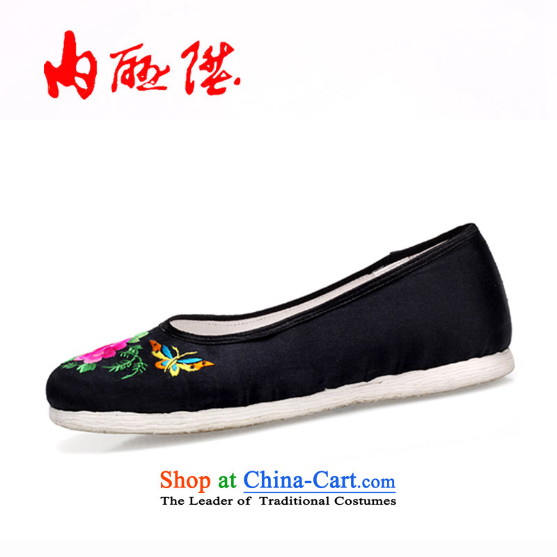 Inline l old Beijing mesh upper hand shoe womens single-gon thousands ground process satin embroidered shoes 8411A $sea black peony 39