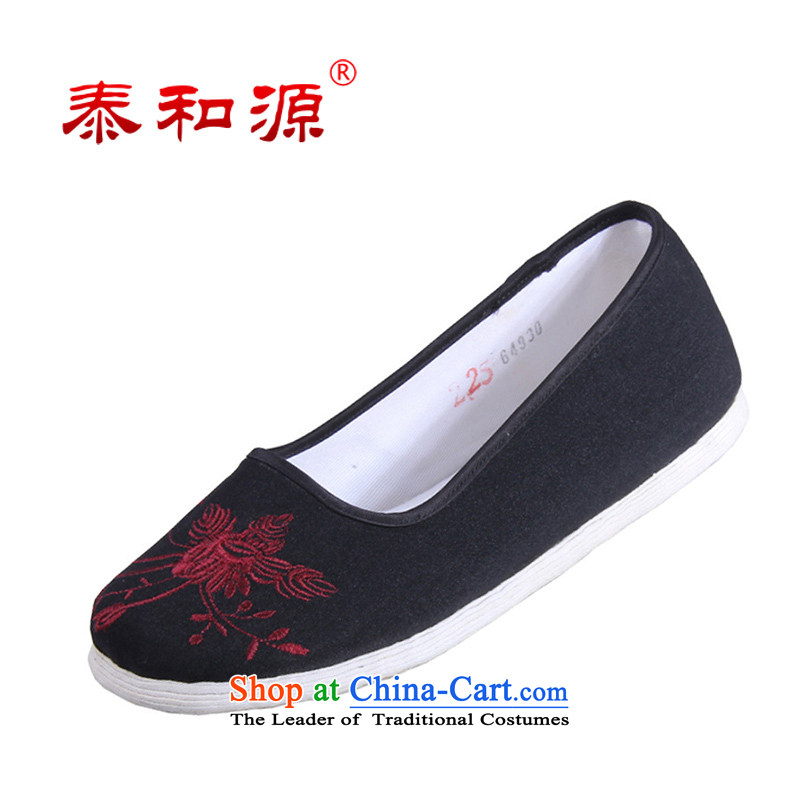 The Thai and source of Old Beijing mesh upper with classic national orchids embroidery female cloth shoes breathability and comfort women shoes manually embroidered ground cloth sewing backplane leisure shoes black37