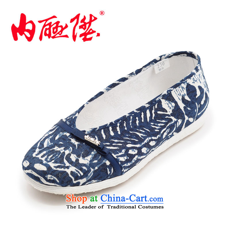 Inline l mesh upper women shoes of Old Beijing mesh upper thousands of bottom water ink connector tip port linen single shoe 8282A New Blue 35