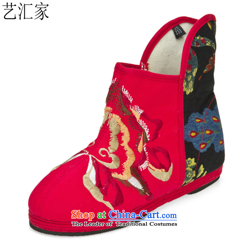 Performing Arts Ethnic Wind embroidered shoes bottom thousands bootie stylish mesh upper women shoesHZ-11Red37