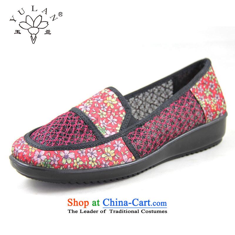 Magnolia Old Beijing mesh upper for summer women shoes embroidered breathable comfort in the older sandals mother shoe 2312-1209 Red聽37