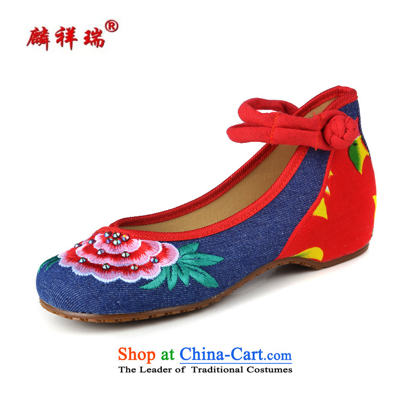 Lun Cheung Sui LINXIANGRUI) (Spring/Summer Old Beijing mesh upper with slope comfortable female embroidered shoes Dance Shoe water drilling hasp ethnic women shoes A412-164 Blue 38