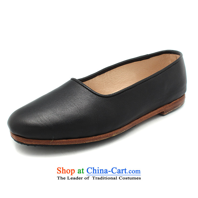 The Chinese old step-Fitr Old Beijing leather shoes female single hand shoe mother Lady's temperament shoes all leather shoe $sea black 39