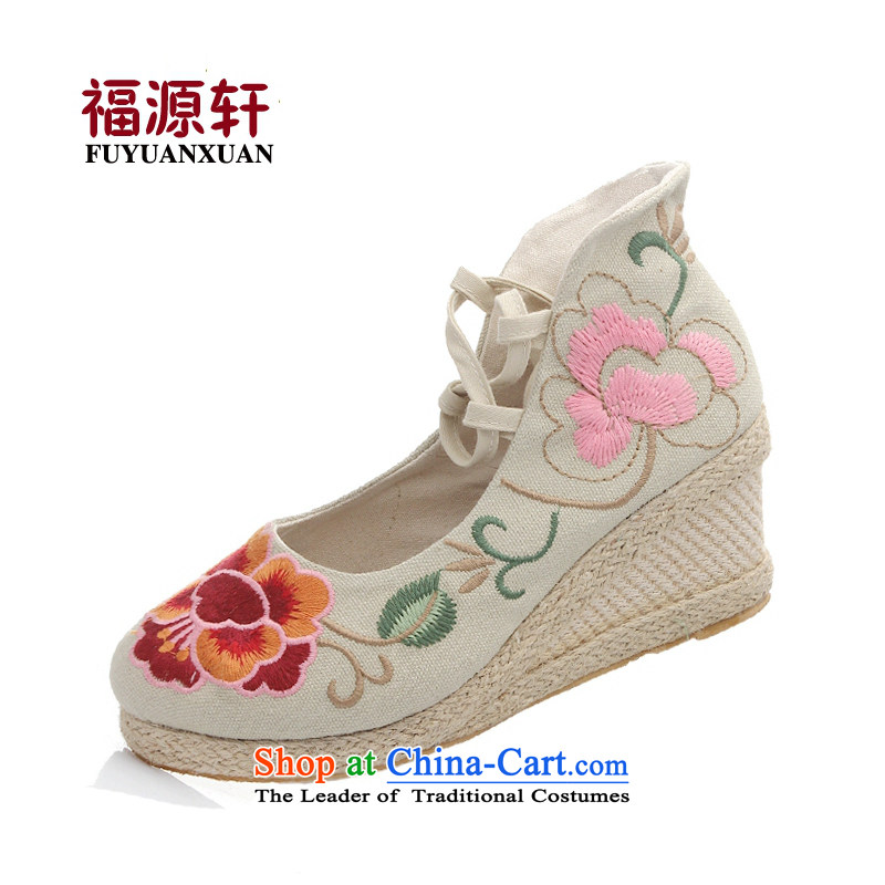 Mesh upper with old Beijing embroidered shoes with ethnic slope waterproof shoes with high female red beaded shoes bride white(embroidery) 37