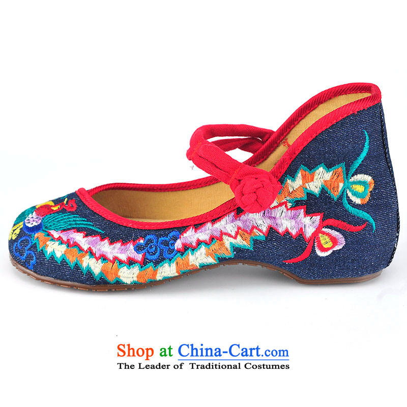 Better well old Beijing mesh upper female embroidered shoes of Ethnic Dance Shoe Light port square women shoes heel shoe-slope rising tie strap women shoes denim B525A87 leisure shoes, 34