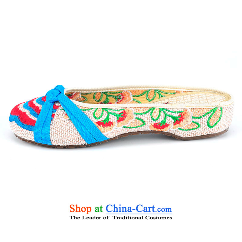 Better well old Beijing New mesh upper spring and summer increased with embroidery slope within sandals ethnic embroidered shoes women shoes China wind linen embroidered slippers lady shoes B282-08 estimated 37