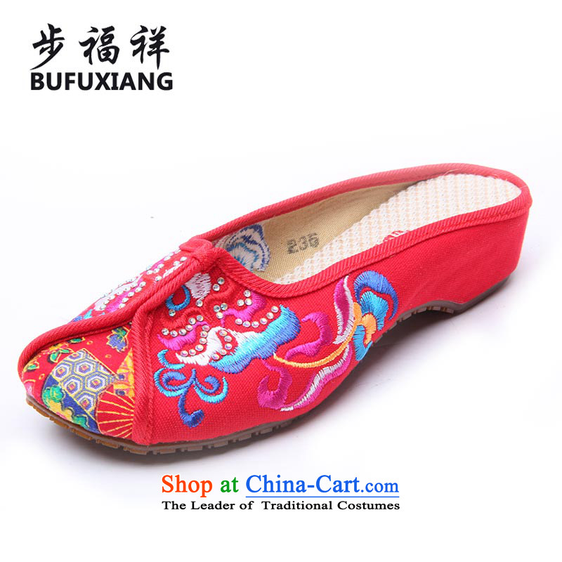 Step Fuxiang of Old Beijing聽2015 new home mesh upper Ms. slippers and stylish small slope posted on women shoes 2326-5-1 drill Red聽36