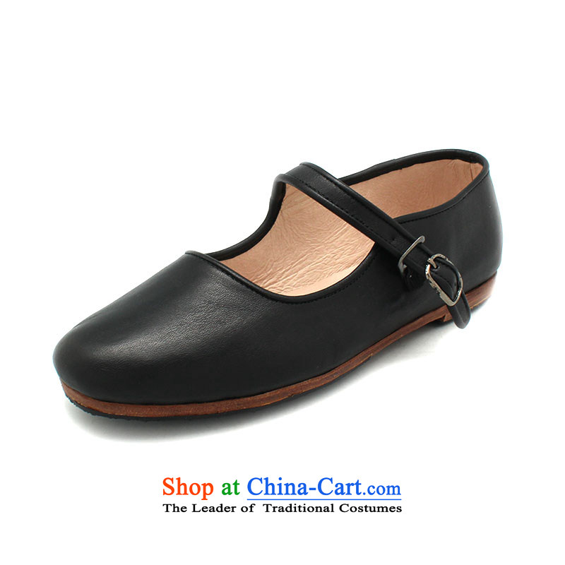 The Chinese old step-Fitr Old Beijing leather shoes female single hand shoe mother Lady's temperament all leather shoes with a lady's shoe black 38