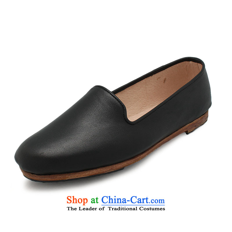 The Chinese old step-Fitr Old Beijing leather shoes female single hand shoe mother Lady's temperament all leather shoes small tabs on women shoes black38