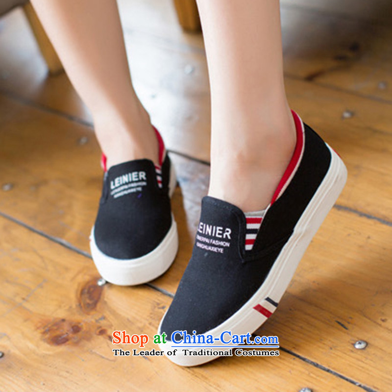 During the spring and autumn female casual shoes canvas shoes female thick pedalling with one foot lazy people shoe shoes low thick men shoes shoes black 41 male couples