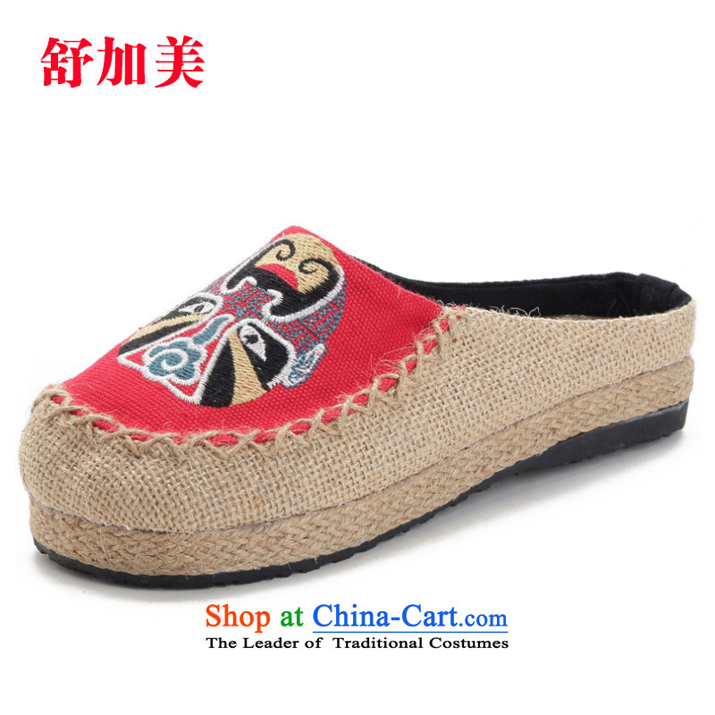 Mesh upper with old Beijing Spring ethnic masks Baotou embroidered slippers leisure cool drag women shoes with red聽36 summer Flat