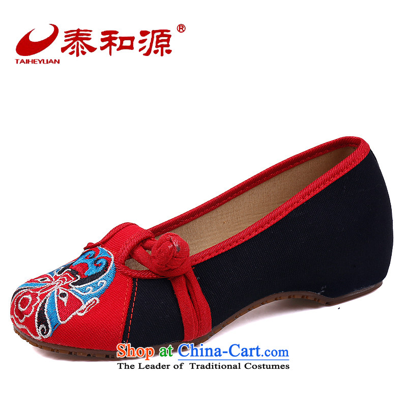 The Thai and source of Old Beijing mesh upper spring shoes embroidered shoes, casual women shoes of ethnic slope heels embroidered shoes hanging ornaments single shoe Red 40