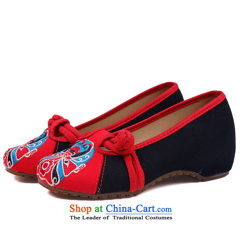 The Thai and source of Old Beijing mesh upper spring shoes embroidered shoes, casual women shoes of ethnic slope heels embroidered shoes hanging ornaments single shoe red 40, Tai and source , , , shopping on the Internet