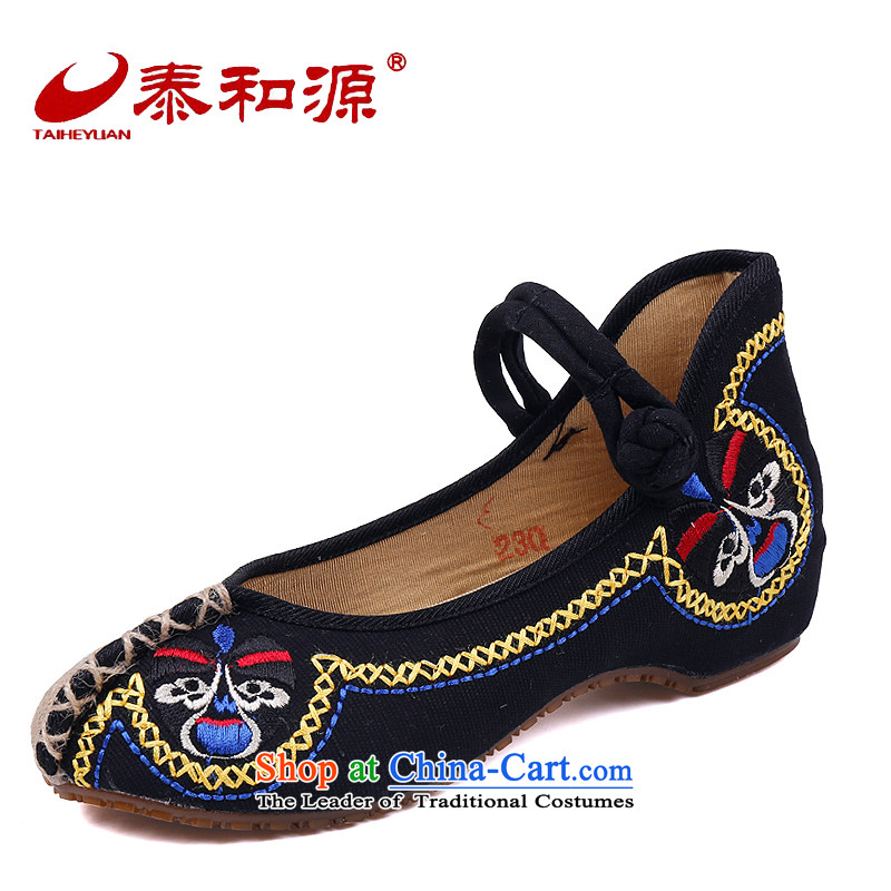 The Thai and source of Old Beijing mesh upper spring shoes embroidered shoes, casual women shoes of ethnic slope heels embroidered shoes hanging ornaments single shoe black 39