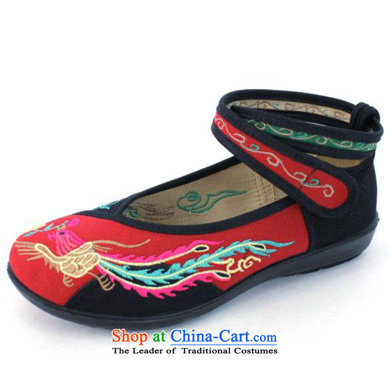2015 New Brilliant sweet girl shoe old Beijing mesh upper retro embroidered shoes with soft, then Shoes Plaza 8520-38 8520-38 Dance Shoe Red 35