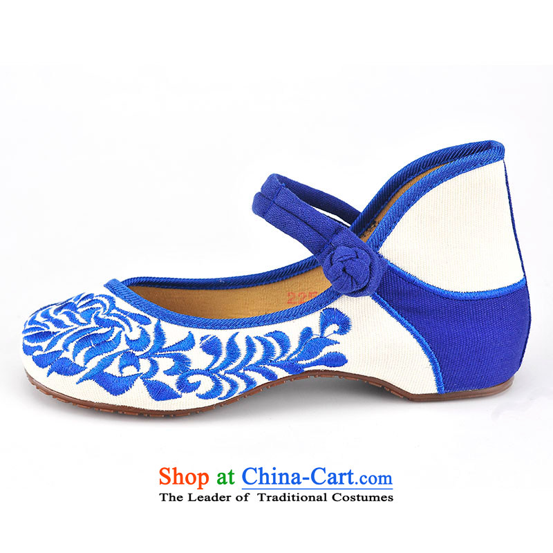 Mesh upper with well the female singles good shoes elegant ethnic porcelain embroidered shoes comfortable shoes breathable small slope behind with increasing traditional buckle straps embroidered shoes B282-07 estimated 34
